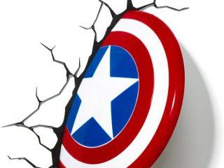 Marvel Comics lampe 3D LED Captain America Shield